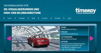 Screenshot der Homepage von timeRay Visualisierungen